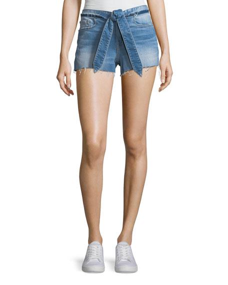 FRAME Le Cutoff Released Tie-Waist Denim Shorts