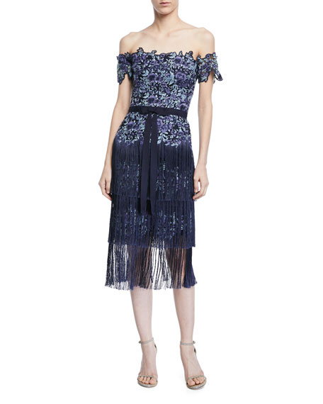 Marchesa Notte Embroidered Strapless Fringe Cocktail Dress