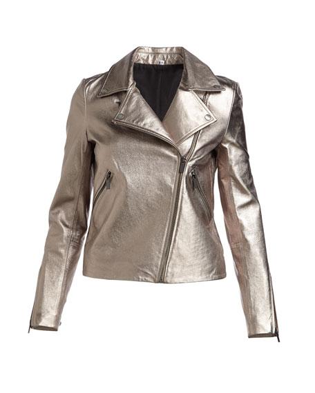 Zip-Front Metallic Leather Moto Jacket