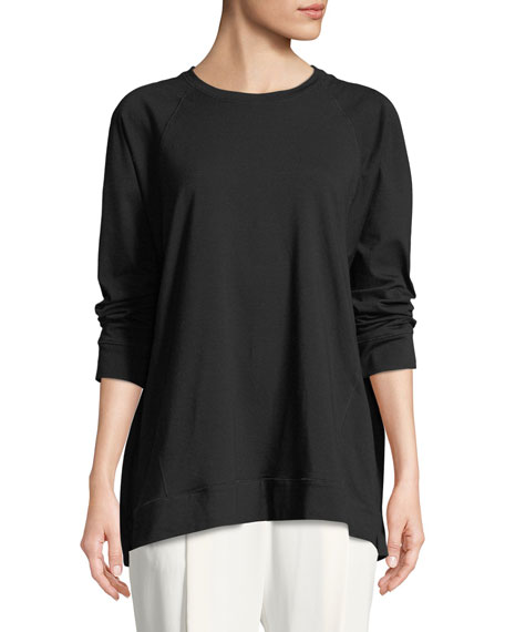 Slubby Organ Cotton Jersey Box Top, Plus Size