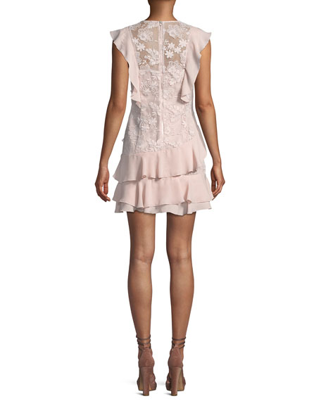 Parker Gabriel Floral-Lace Combo Dress with Ruffled Frills