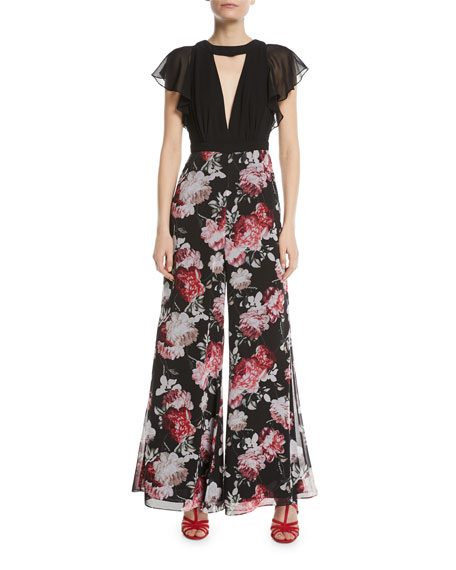 The Ole Chiffon Floral Wide-Leg Jumpsuit
