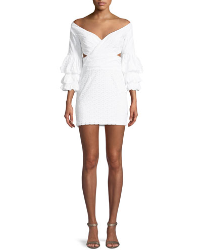 The Brittany Eyelet Double Trumpet-Sleeve Mini Dress