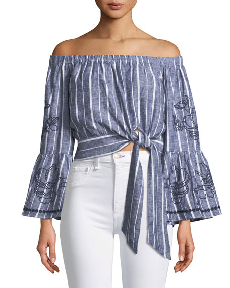 Georgina Off-the-Shoulder Tie-Side Cropped Striped Blouse