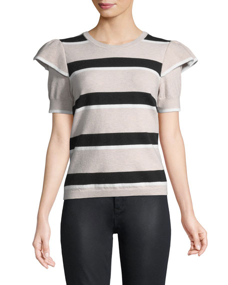 Maren Crewneck Striped Sculpt-Shoulder Knit Sweater