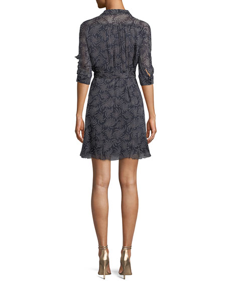 ba&sh Cora Elbow-Sleeve Printed Wrap Dress