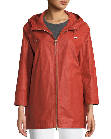 Herno Waxed Cotton A-Line Raincoat w/ Hood