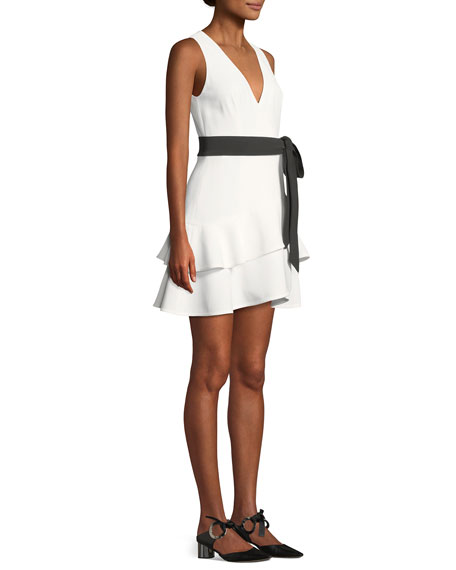 Olena Sleeveless Belted Flounce Mini Dress