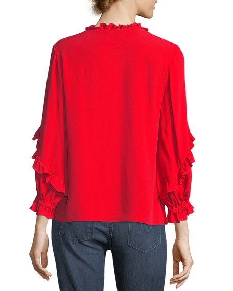 Brannon Scoop-Neck Long-Sleeve Top with Ruffled Frills