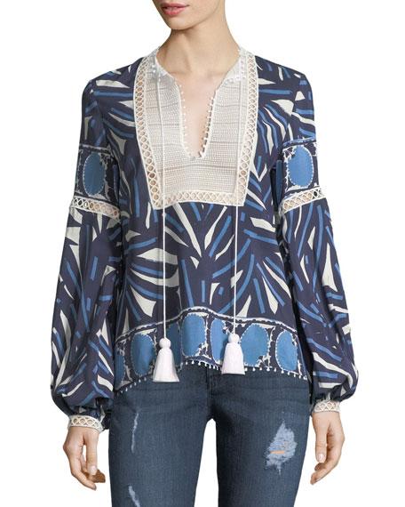 Alexis Ciela Lace-Bib Long-Sleeve Printed Cotton Top