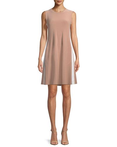 Side-Stripe Sleeveless Mini Swing Dress