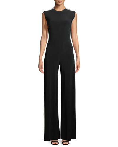 Side-Stripe Cap-Sleeve Jumpsuit