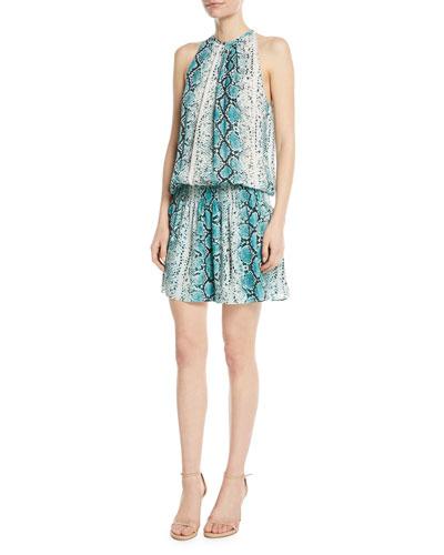 Paris Siena Sleeveless Snake-Print Silk Short Dress