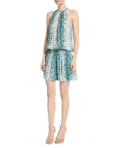 Paris Siena Sleeveless Snake Print Silk Short Dress by Ramy Brook