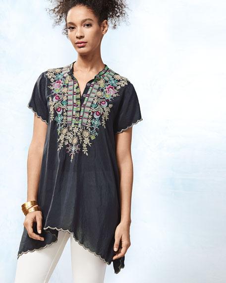 Livana Embroidered Short-Sleeve Tunic, Petite