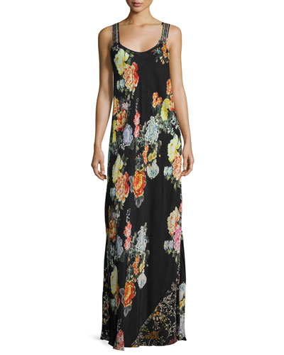 Petite Mixed-Print Maxi Dress