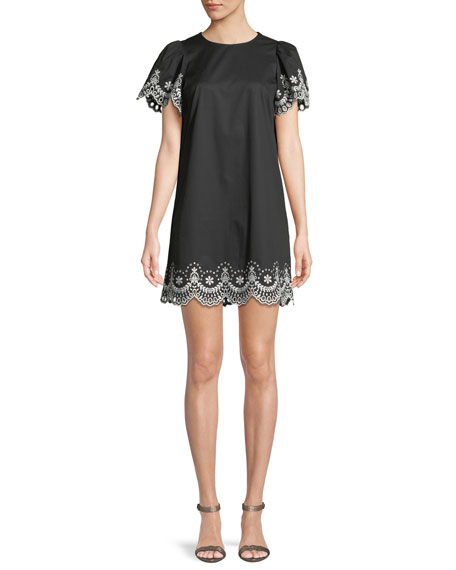 kate spade new york cutwork scalloped mini dress