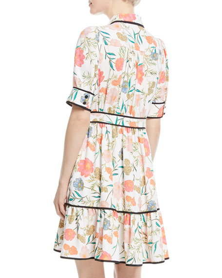 blossom fluid short-sleeve shirtdress