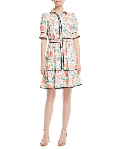 blossom fluid short-sleeve shirtdress
