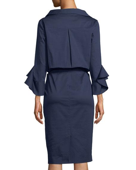 Poplin Stretch Ruffle-Sleeve Shirt Dress