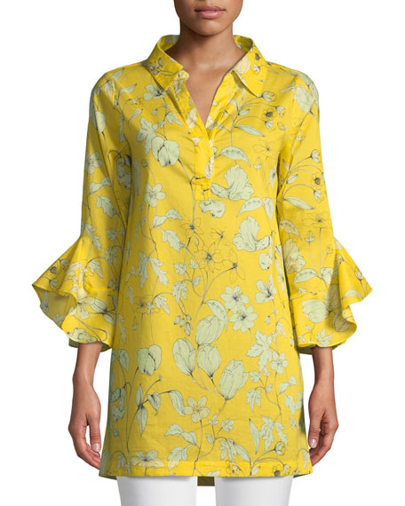 Badgley Mischka Collection Floral-Print Voile Bell-Sleeve Tunic