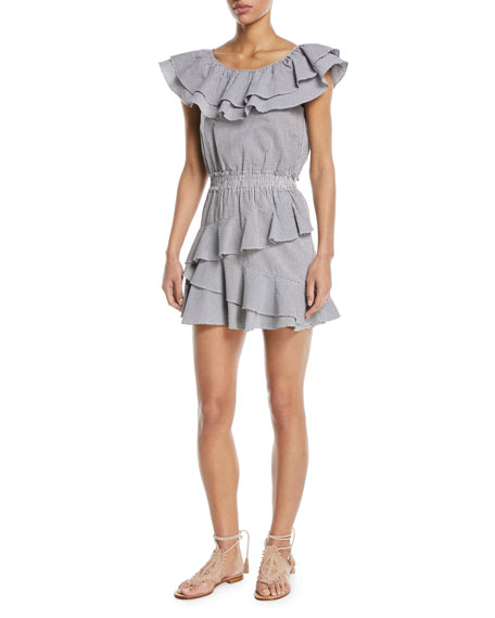 Lacey Round-Neck Ruffled Gingham Cotton Dress