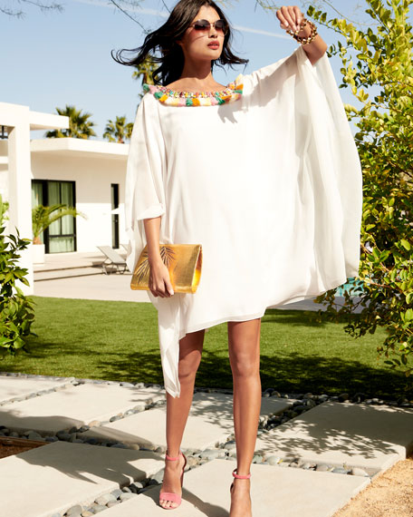 Fringe Pompom V-Neck Caftan Dress