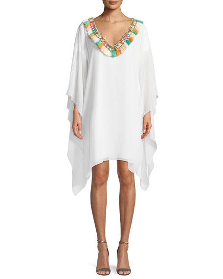 Badgley Mischka Collection Fringe Pompom V-Neck Caftan Dress