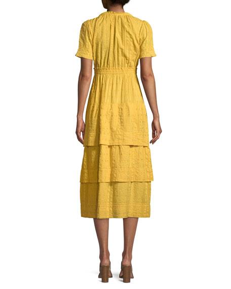 Heather Short-Sleeve Tiered Midi Dress