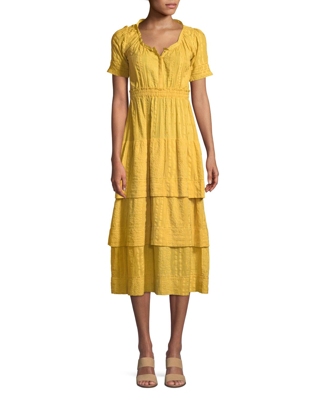 a199be929b Loveshackfancy Heather Short-Sleeve Tiered Midi Dress