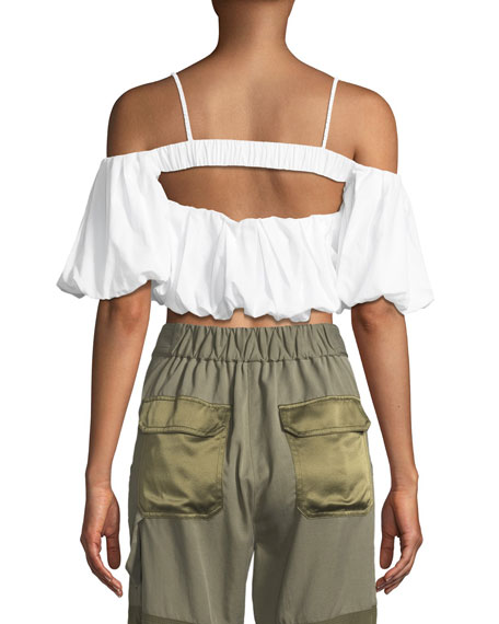 Off-the-Shoulder Short-Sleeve Cotton Crop Top