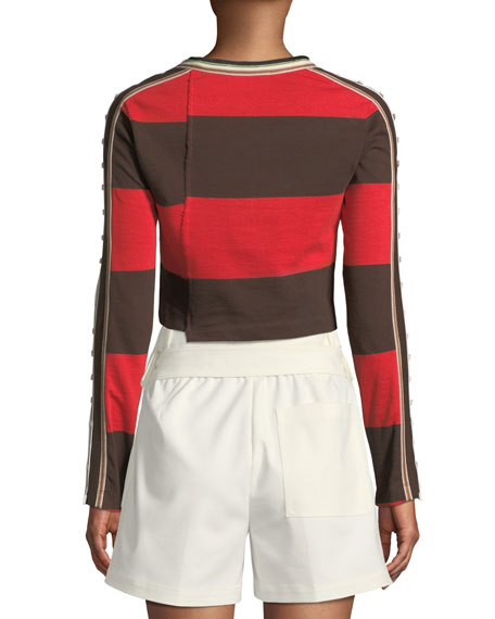Striped Long-Sleeve Jersey Crop Top