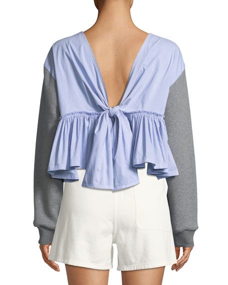 3.1 Phillip Lim Cropped Cotton Sweatshirt w/ Tie