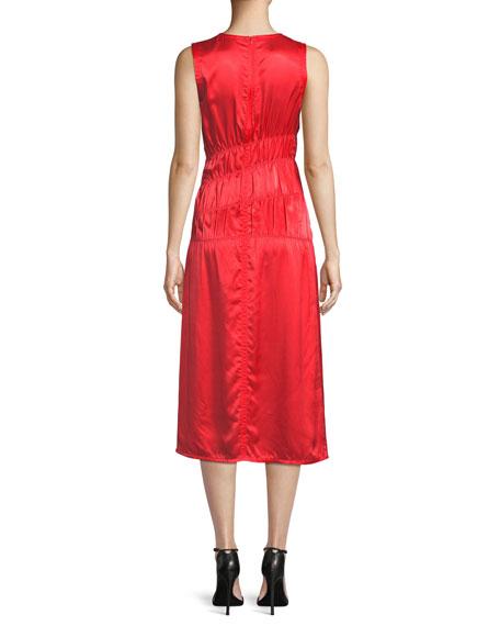 Sleeveless Ruched Satin Tank Dress