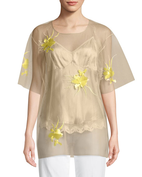 Helmut Lang Orchid-Embroidered Tulle Blouse