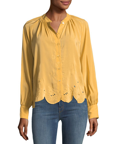 Scalloped Long-Sleeve Top