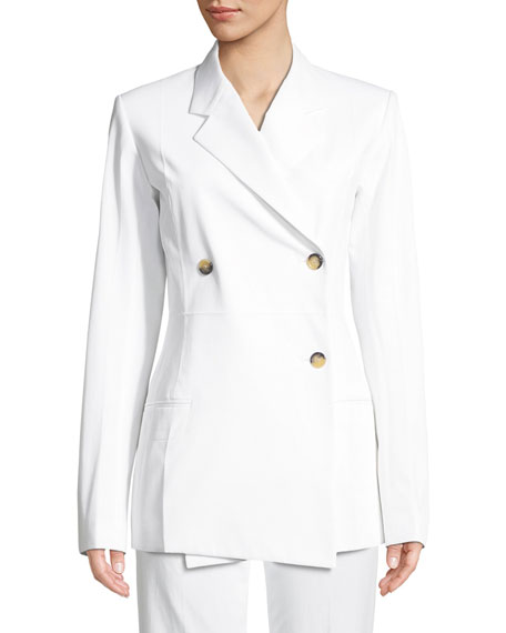 Image 1 of 3: Helmut Lang Double-Breasted Cotton Blazer