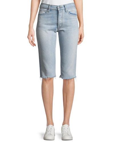 Cutoff Knee-Length Denim Shorts