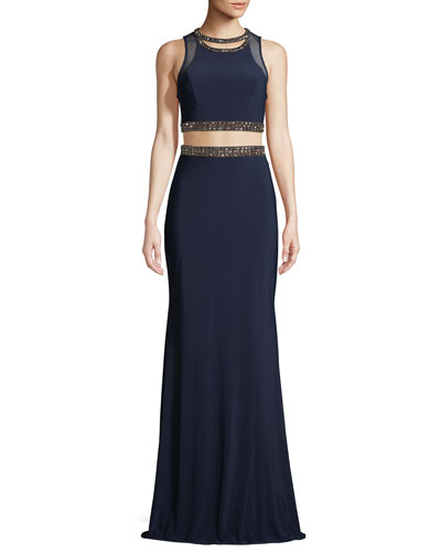 Jersey Two-Piece Bead-Trim Top & Skirt Formal Set