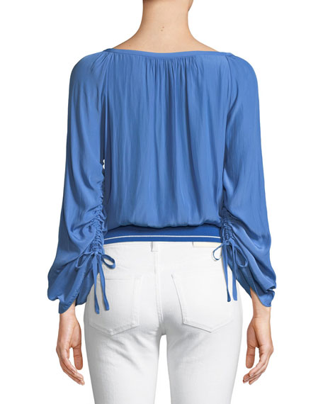 Johanna Boat-Neck Drawstring-Sleeve Top