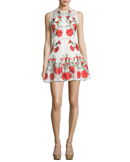 Alexis Sabella Sleeveless Floral-Embroidered Fit-and-Flare Linen