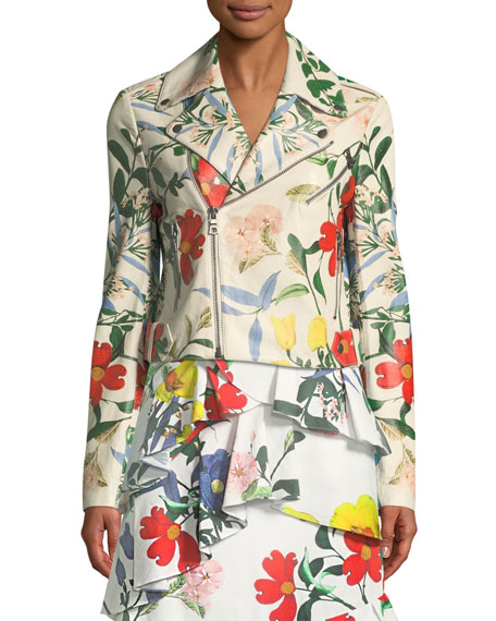 Cody Whimsy Floral-Print Leather Moto Jacket
