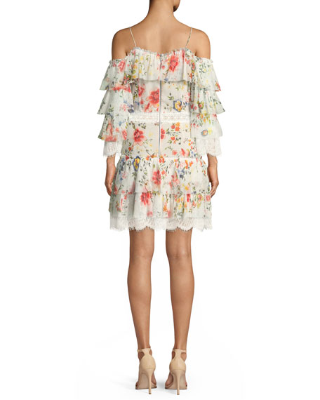 Santos Cold-Shoulder Floral-Print Tiered Silk Dress w/ Lace Trim