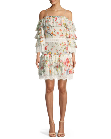 Alice + Olivia Santos Cold-Shoulder Floral-Print Tiered Silk