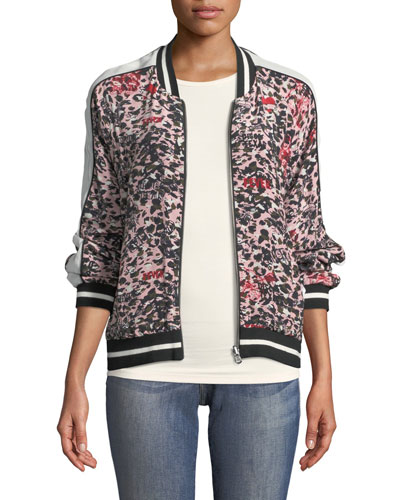Billy Leo Zip-Front Ikat-Print Bomber Jacket