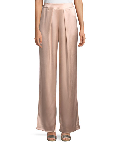 Fancy Satin-Back Crepe Pants