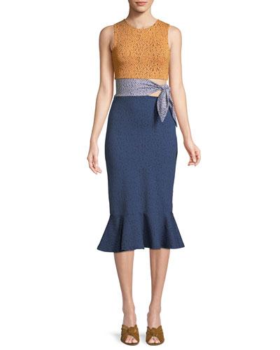 Lotus Multi-Pattern Tie Waist Dress