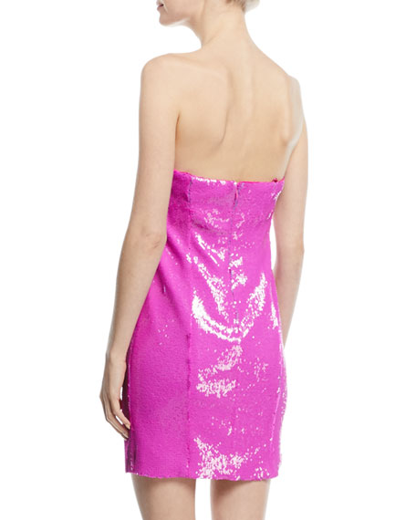 Strapless Sequined Mini Cocktail Dress
