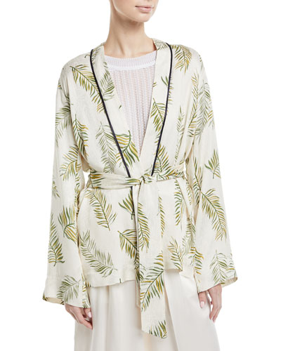 Desert Leaf-Print Satin Jacket