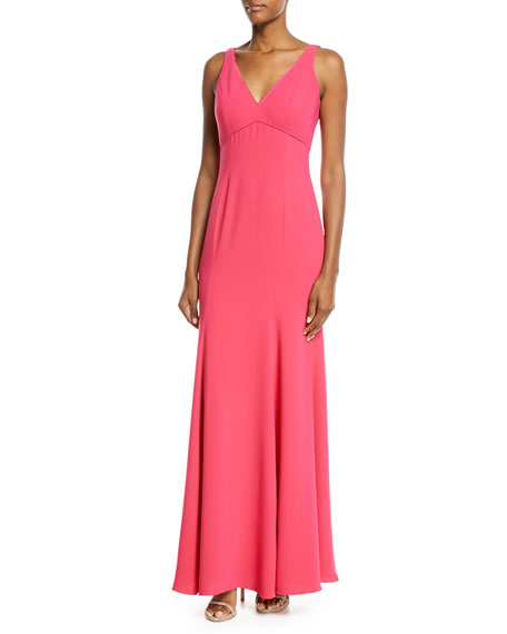 V-Neck Crepe Gown w/ Beaded Cape